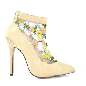 Shoes - Cream Floral Stiletto Heel Boots